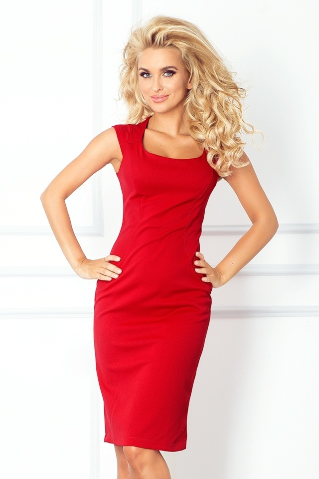 Červené vypasované šaty 53-17A