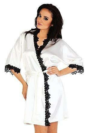 Saténový dámský župan Kleoree bílý - L
