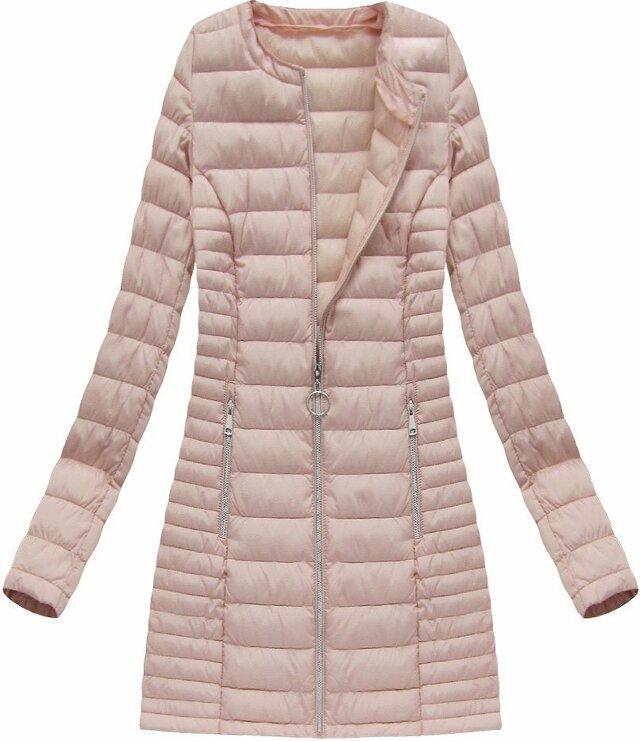 Dlouhá prošívaná bunda v lososové barvě (21810) - M (38) - růžová