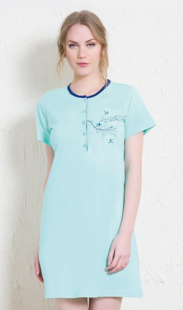 Dámská noční košile s krátkým rukávem Ptáci na stromě