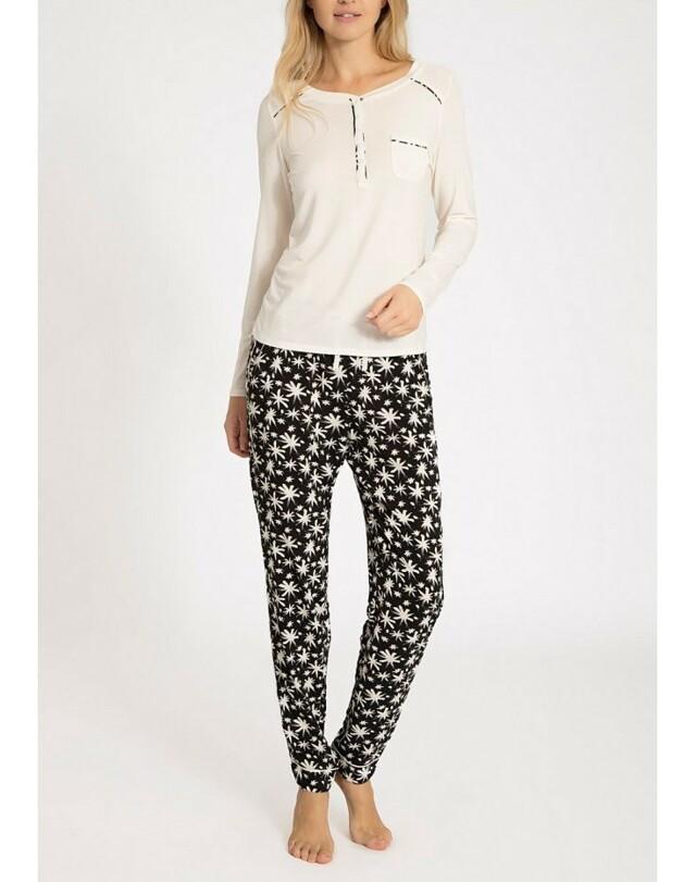 Dámské pyžamo QS5821E - Calvin Klein - M - smetanová s černou