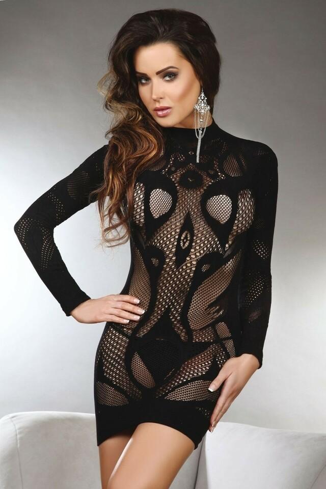 Erotické šaty Elianna - S/L - černá