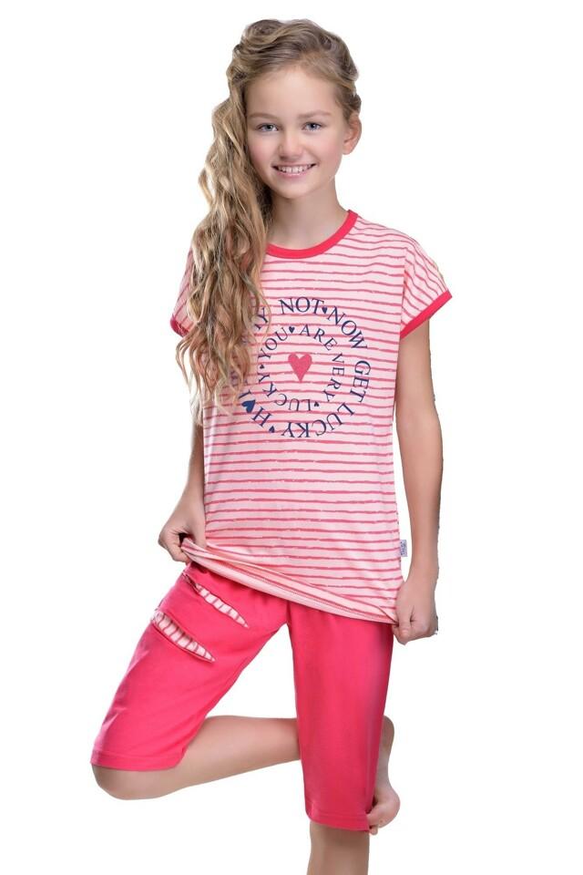 Dívčí pyžamo Amélie Lucky růžové - 146