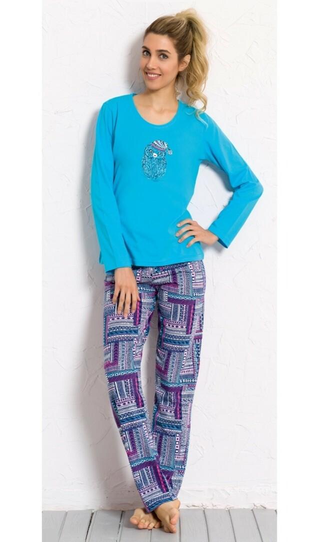 Dámské pyžamo dlouhé Mazlíček - tmavě růžová L