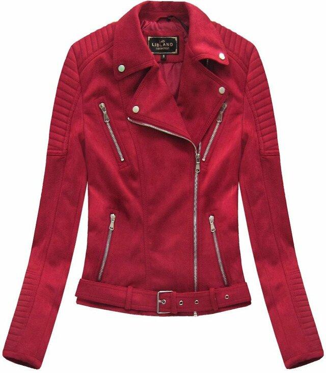 Červená dámská bunda ramoneska se sponou (6008) - S (36) - červená