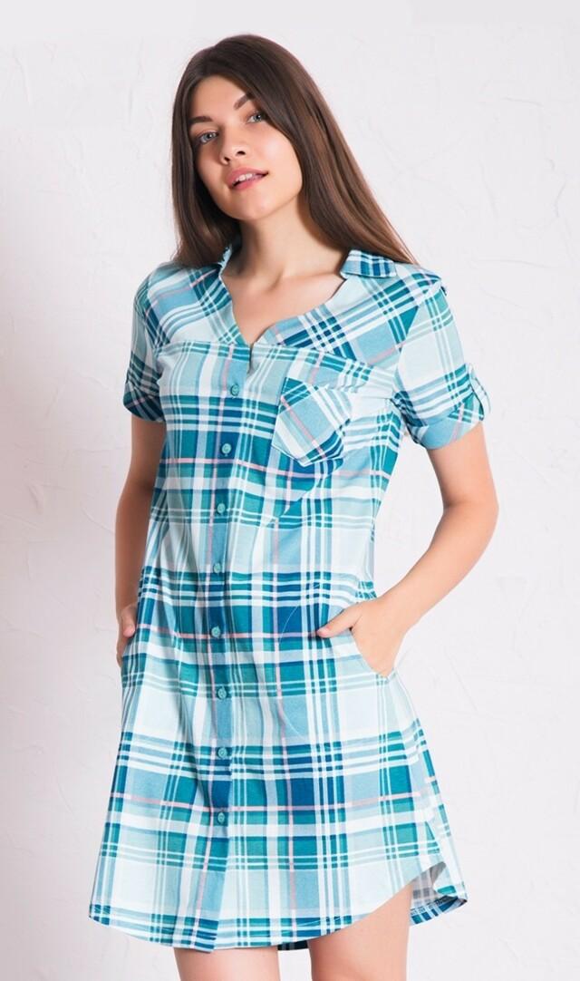 Dámské domácí šaty s krátkým rukávem Marie - zelená S