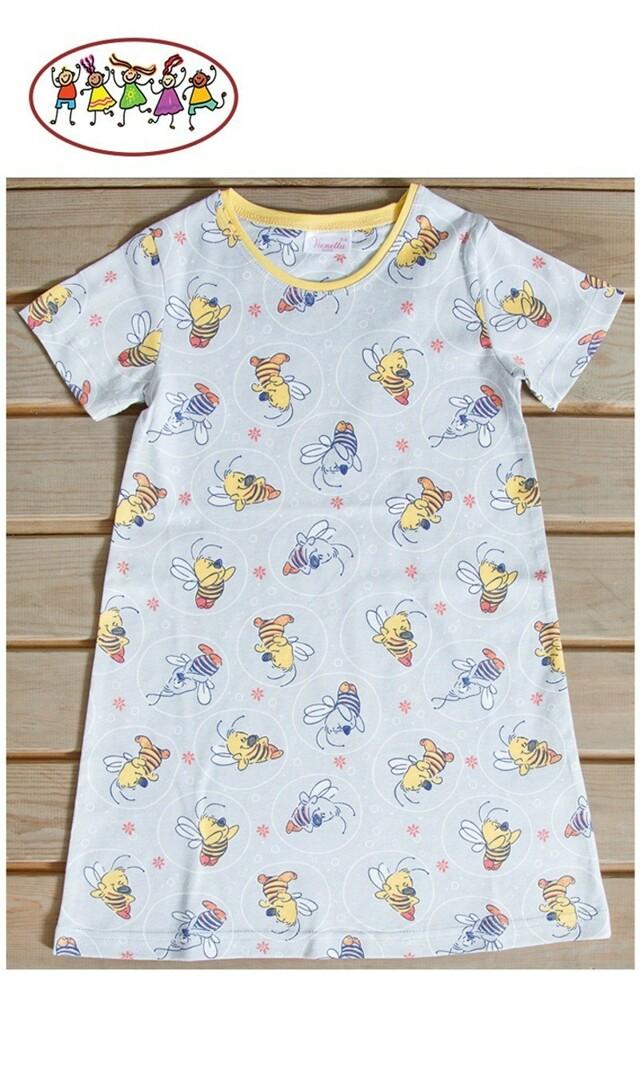 Dětská noční košile s krátkým rukávem Maruška - šedá/žlutá 5 - 6
