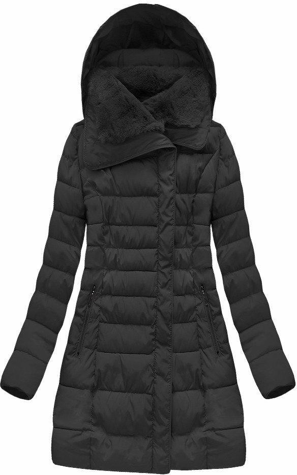 Ćerná dámská dlouhá bunda (B1068-30) - S (36) - černá