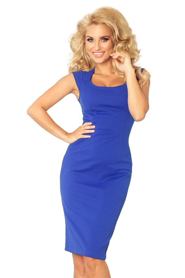 Modrofialové vypasované šaty 53-10A
