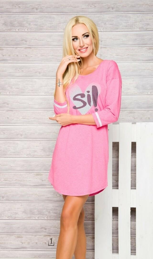2117 Dámská dlouhá noční košile HANA S-XL - TARO - S - RŮŽOVÁ