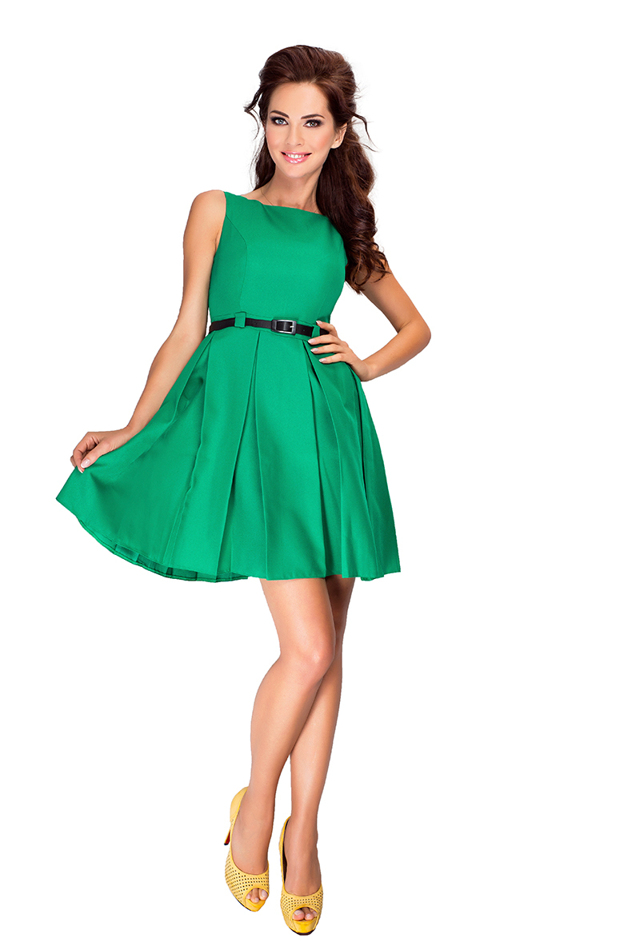 Zelené šaty s kontravolány 6-12 - XL