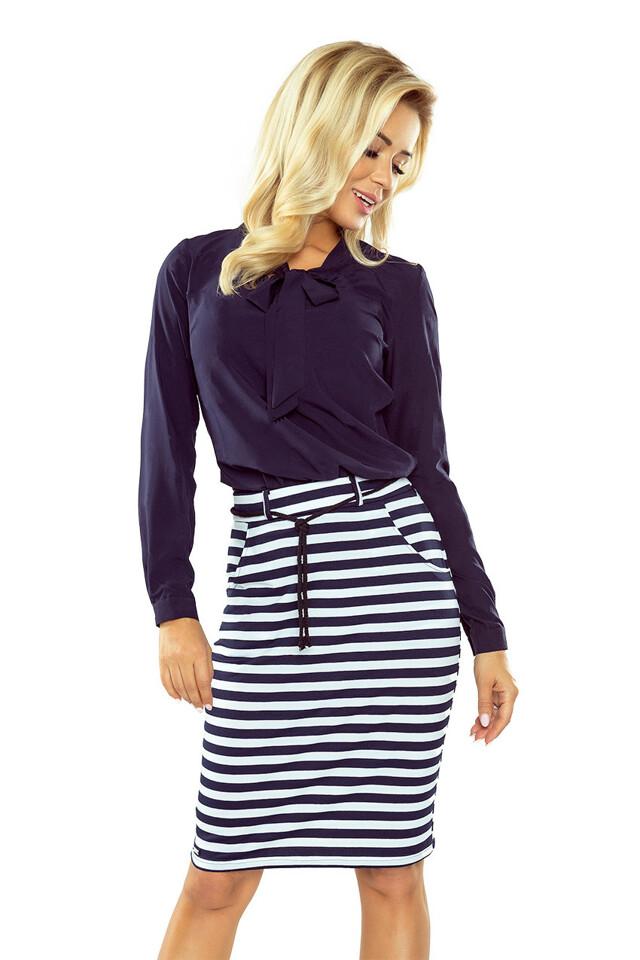 127-5 Bílo-tmavě modrá proužkovaná sukně s kapsami