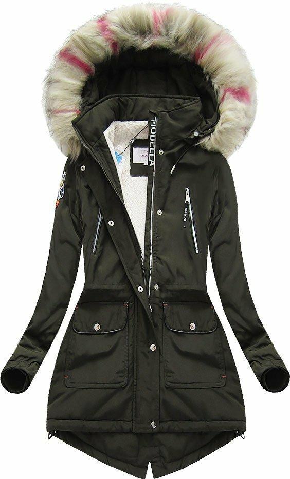 Khaki dámská zimní bunda s kapucí (39910) - XXL (44) - khaki