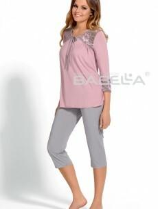 Dámské capri pyžamo Izyda Babella - XL - magnolie/šedá