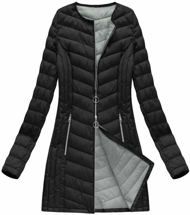 Černá dlouhá prošívaná bunda (21814) - 46 - černá