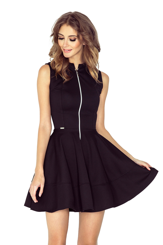 Černé šaty se zipem a kapsami 123-12 - M