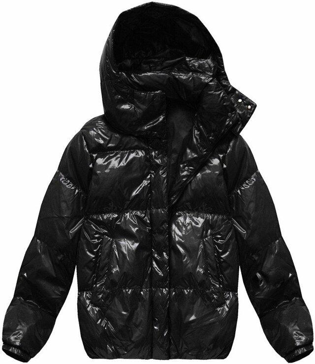 """Černá lesklá bunda typu """"oversize"""" (7121) - L (40) - černá"""