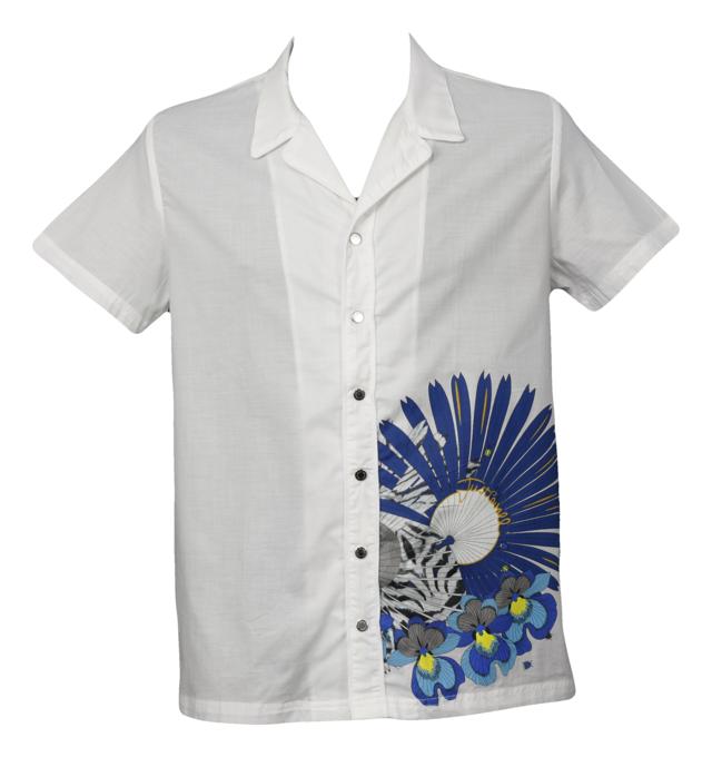 Pánská košile kr. rukáv bílá A625 Just Cavalli - M - bílá s květinovým vzorem