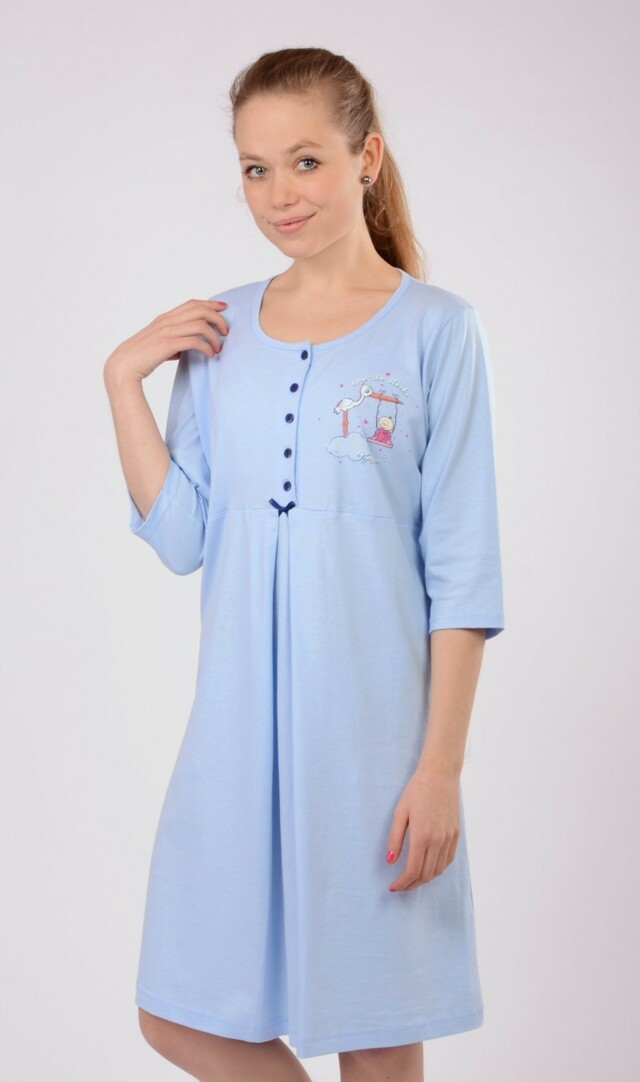 Dámská noční košile mateřská Čáp s houpačkou - fialová S
