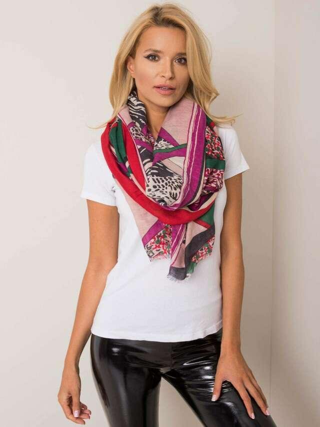 Geometrický červený šátek - jedna velikost