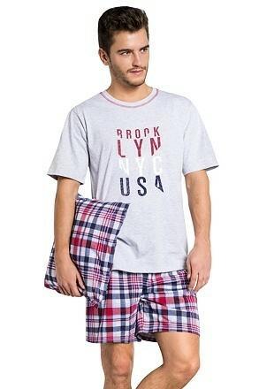 Pánské pyžamo Šimon šedé krátké