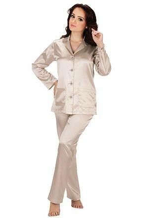 Dámské béžové saténové pyžamo Classic dlouhé - S