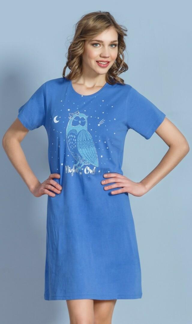 Dámská noční košile s krátkým rukávem Sova Pálená - šedá S