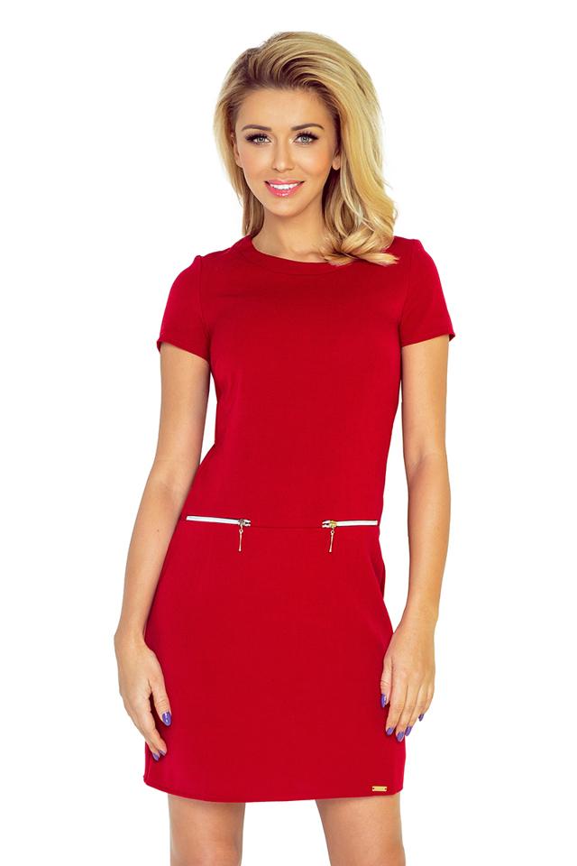 Červené dámské šaty se dvěma zipy 134-2 - XXL