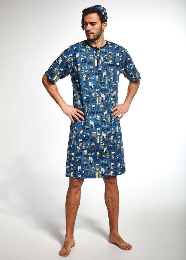 Pánská noční košile Cornette 109/635601 kr/r S-2XL - M - šedá
