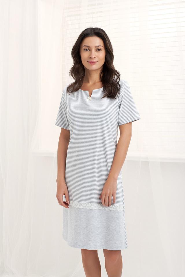 Dámská noční košile 159 - LUNA - XL - ŠEDÁ