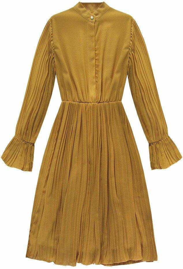 Hořčicové plisované šaty (136ART) - ONE SIZE - žlutá