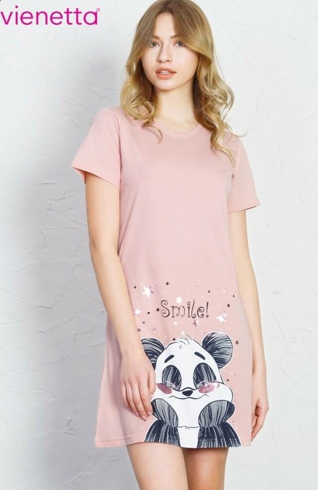 Dámská noční košile s krátkým rukávem Panda Smile - šedá L