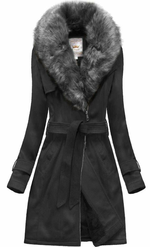 Černá dámský zimní semišový kabát s páskem (6515) - XXL (44) - černá