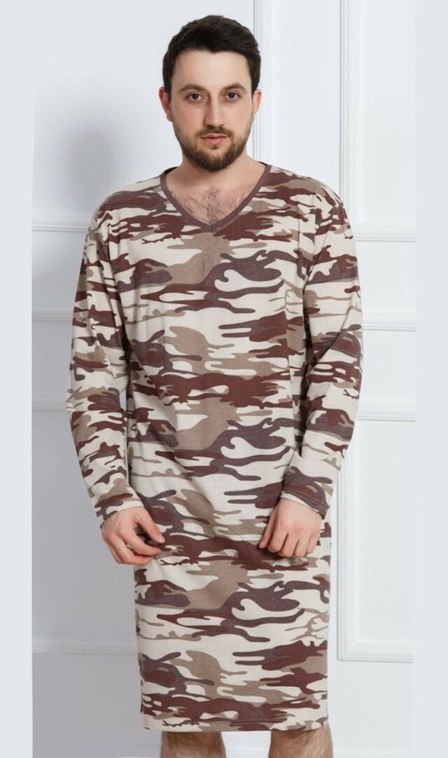 Pánská noční košile s dlouhým rukávem Army - hnědá L