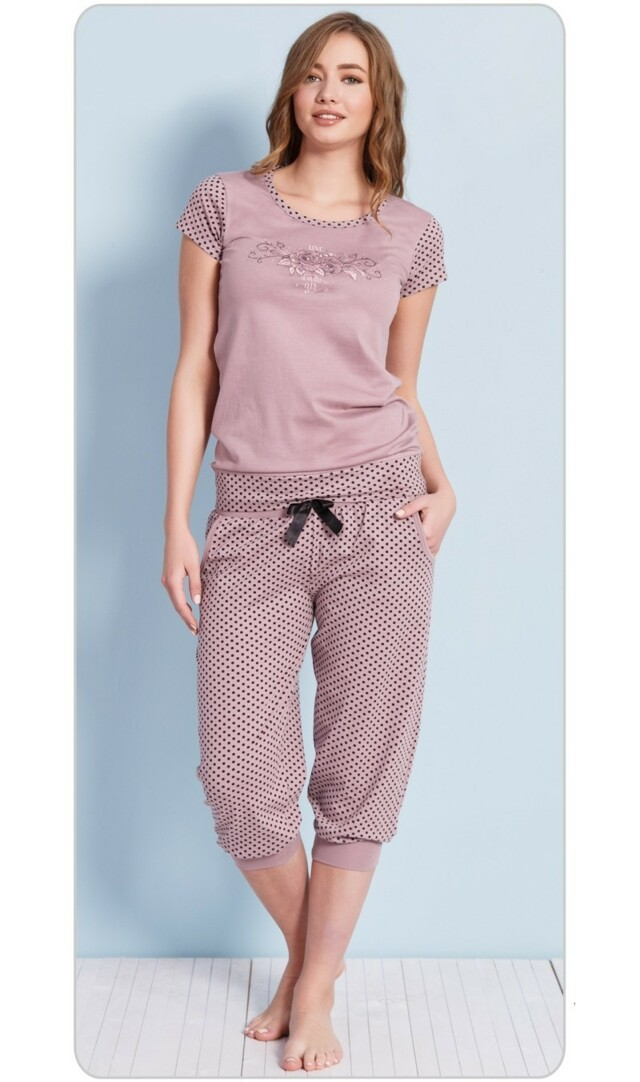 Dámské pyžamo kapri Růže - mocca S