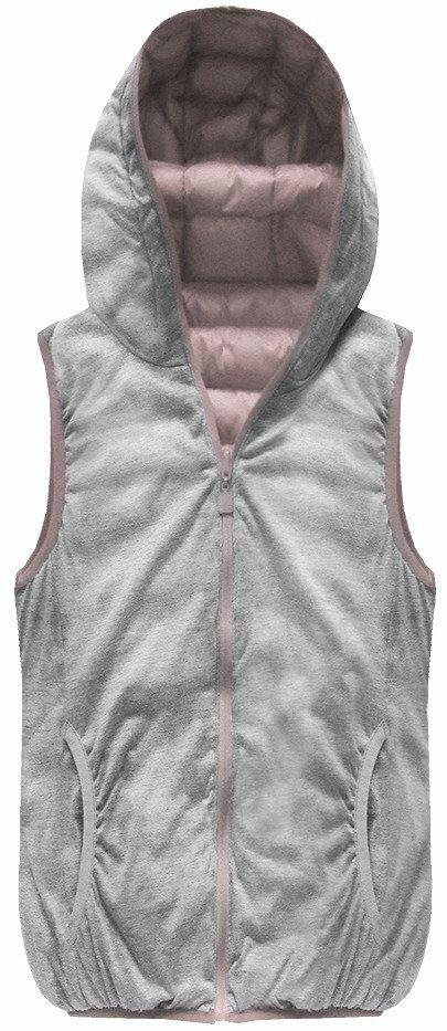 4a451a1b00 Oboustranná vesta ve starorůžové barvě s kapucí (B1002)(1065020) - 2