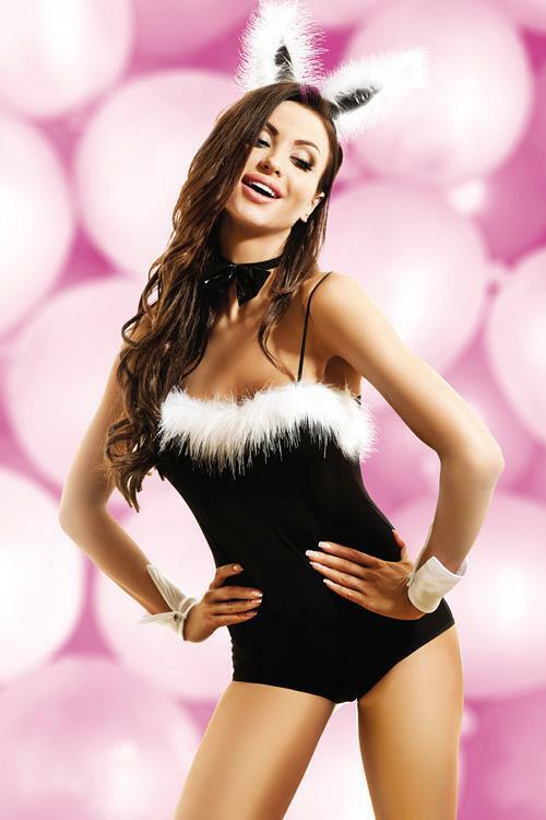 Dámský sexy kostým Bunny - Hamana - XXL - černo-bílá