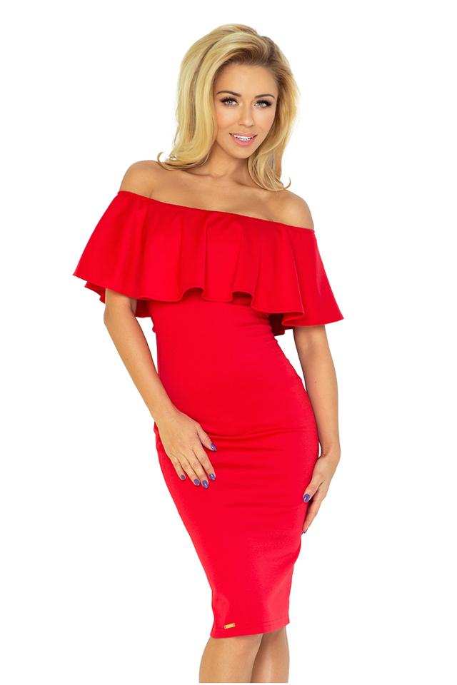 Červené šaty s volánkem 138-2 - S