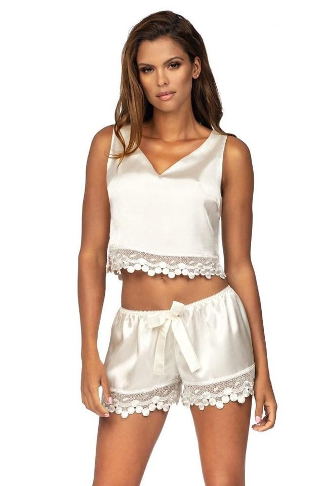 Luxusní saténové pyžamo Blanche ecru - L