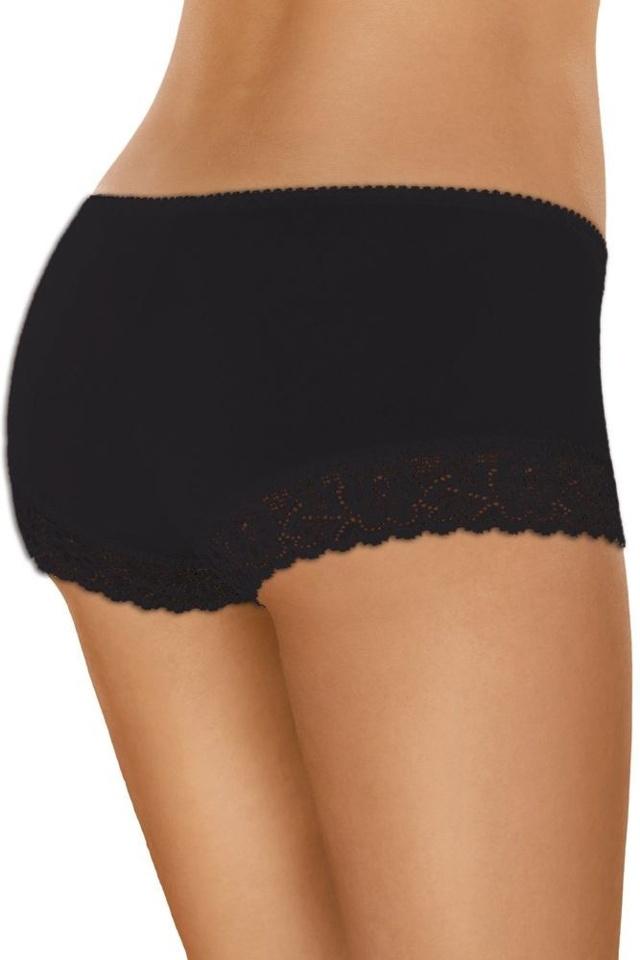 Bavlněné krajkové kalhotky s nohavičkou 55 černé - S