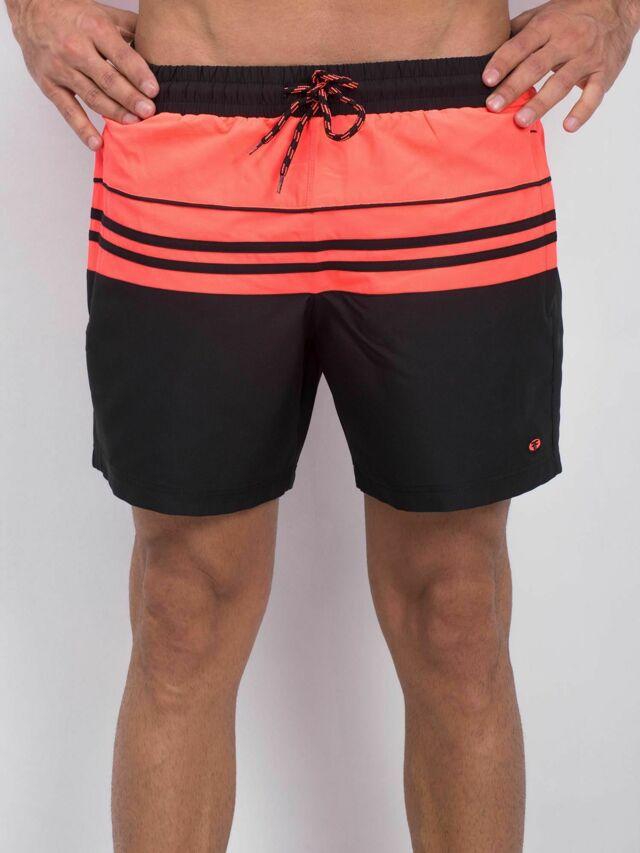 Pánské sportovní kraťasy v černé a korálové barvě - 2XL