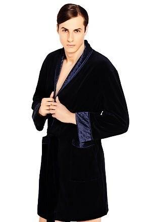 Luxusní pánský župan Bonjour temně modrý krátký
