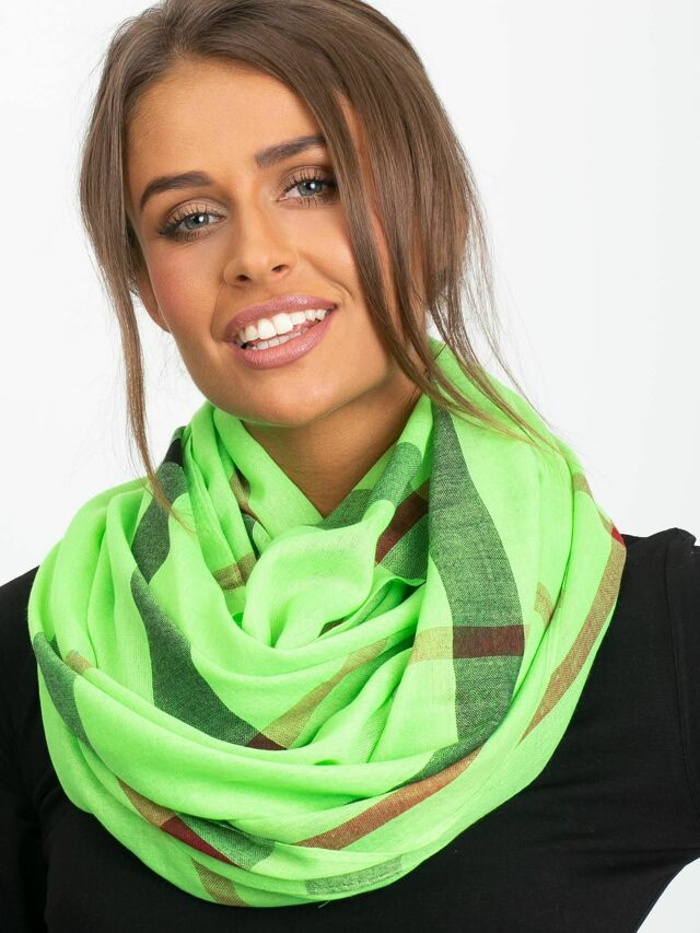 Fluo zelený kostkovaný šátek - ONE SIZE