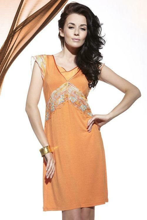 Dámská noční košilka Miran 180 - S - oranžová