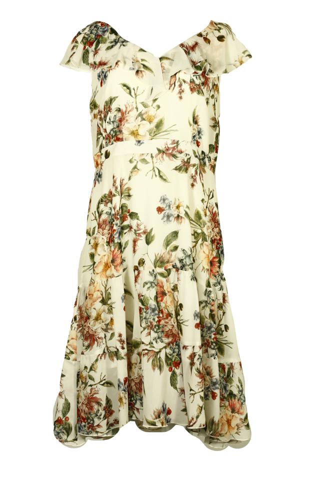 Dámské společenské květované šaty s volánem - 0190M18 Wera - 44 - bílá s květinovým vzorem