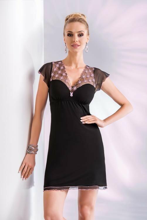 Noční košilka Donna Paris - black - L - černá