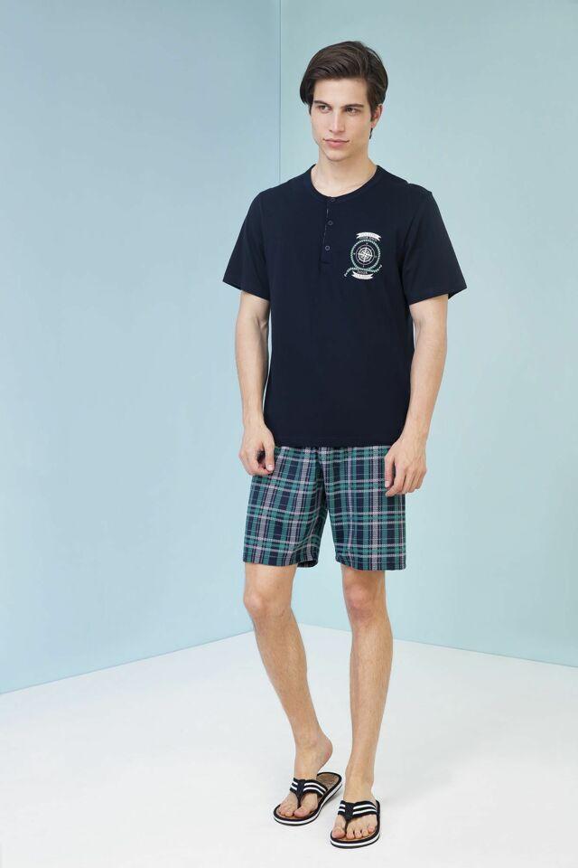 Pánské pyžamo 3447 - Vamp - XL - tm.modrá