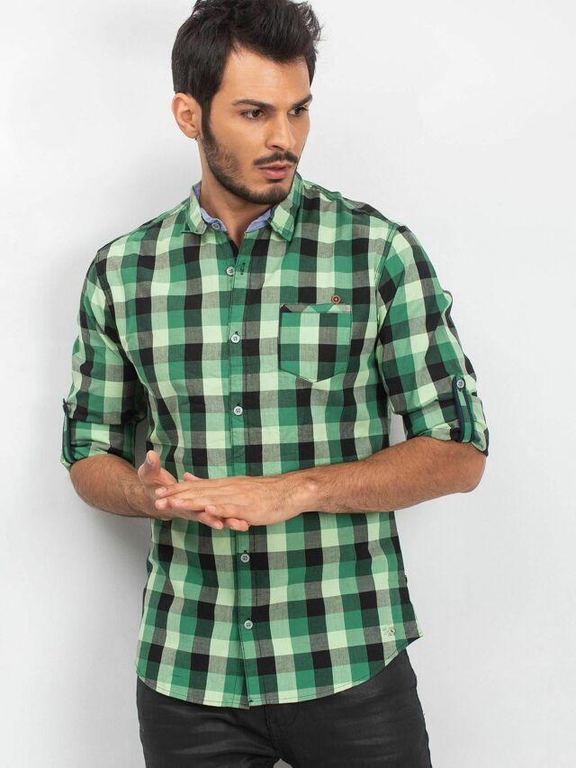 Zelená pánská kostkovaná košile - 3XL