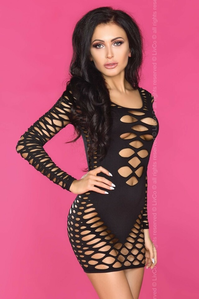Erotické šaty Elenara - L/XL - černá