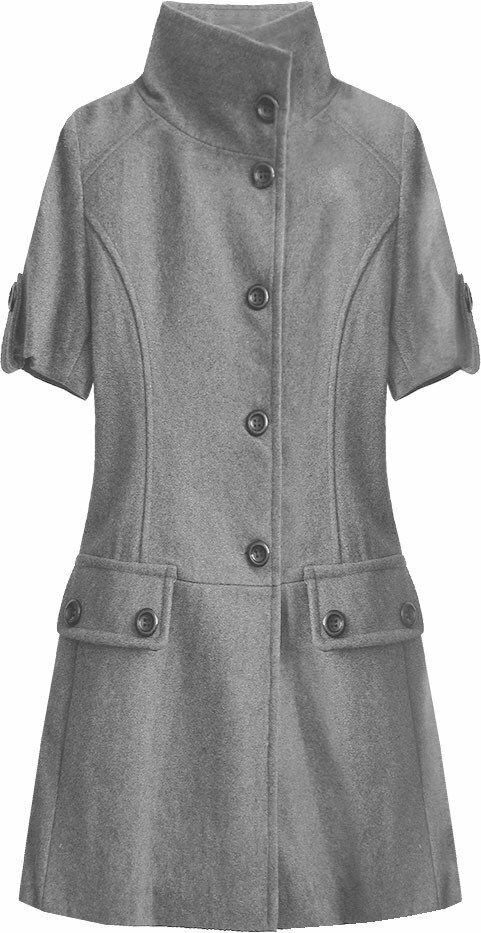 Tmavě šedý rozšířený kabátek (1091) - S (36) - šedá